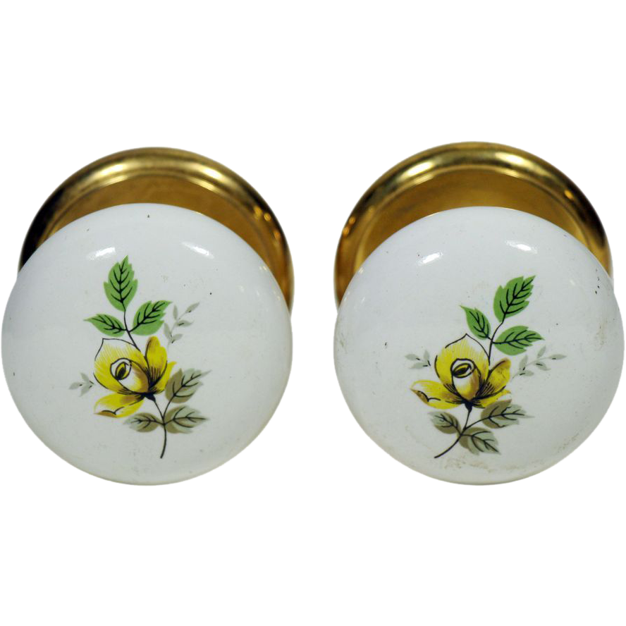 Pair of floral ceramic Gainsborough knobs