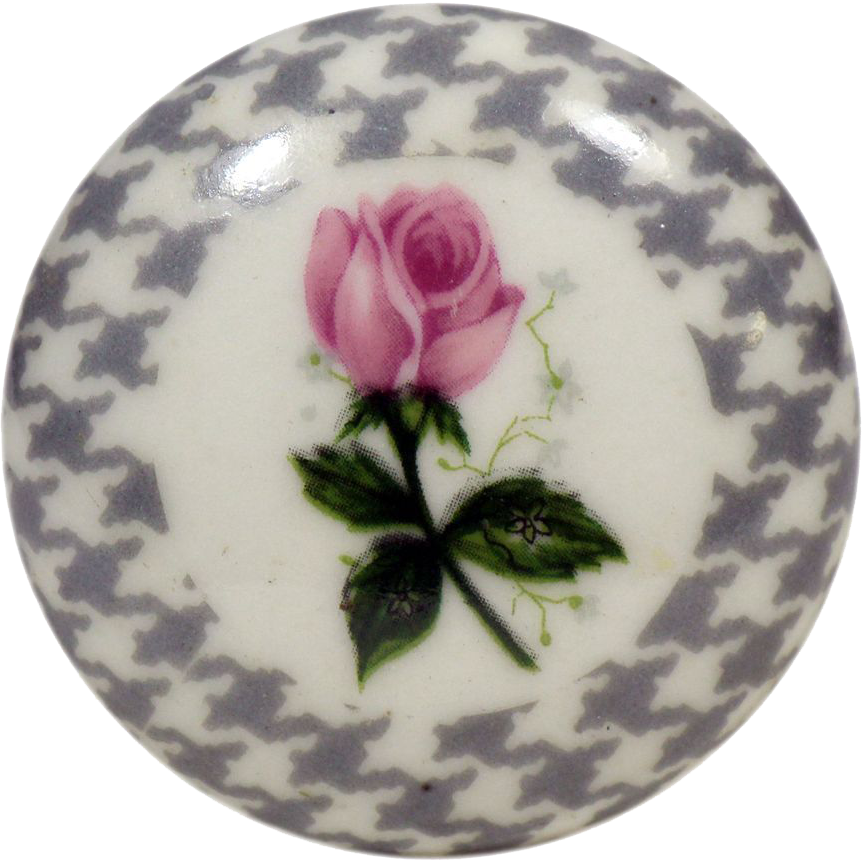 Small single floral & hands tooth ceramic knob