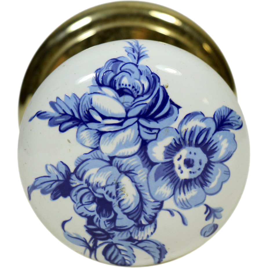Single floral Gainsborough ceramic knob