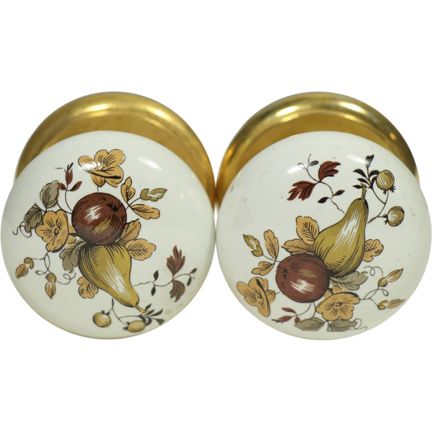 Pair of country fruit motif ceramic Gainsborough knobs