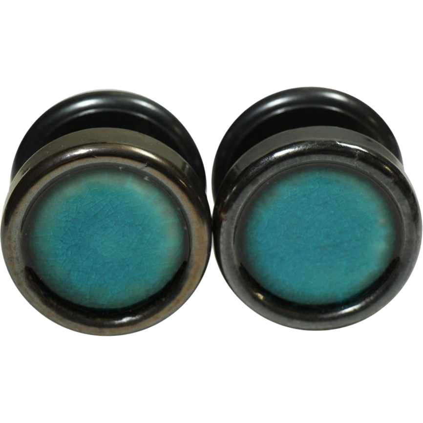 Mid century modern enamel teal Gainsborough knob set