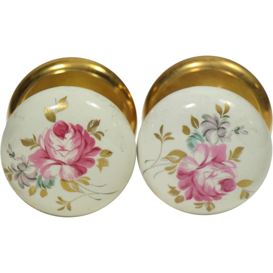 Pair of vintage floral ceramic Gainsborough knobs