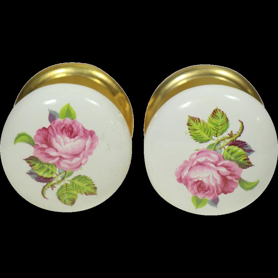 Pair of floral ceramic Gainsborough door knobs