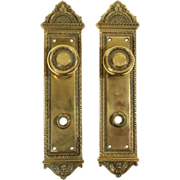 Pair of brass or bronze knobs with cherub plate