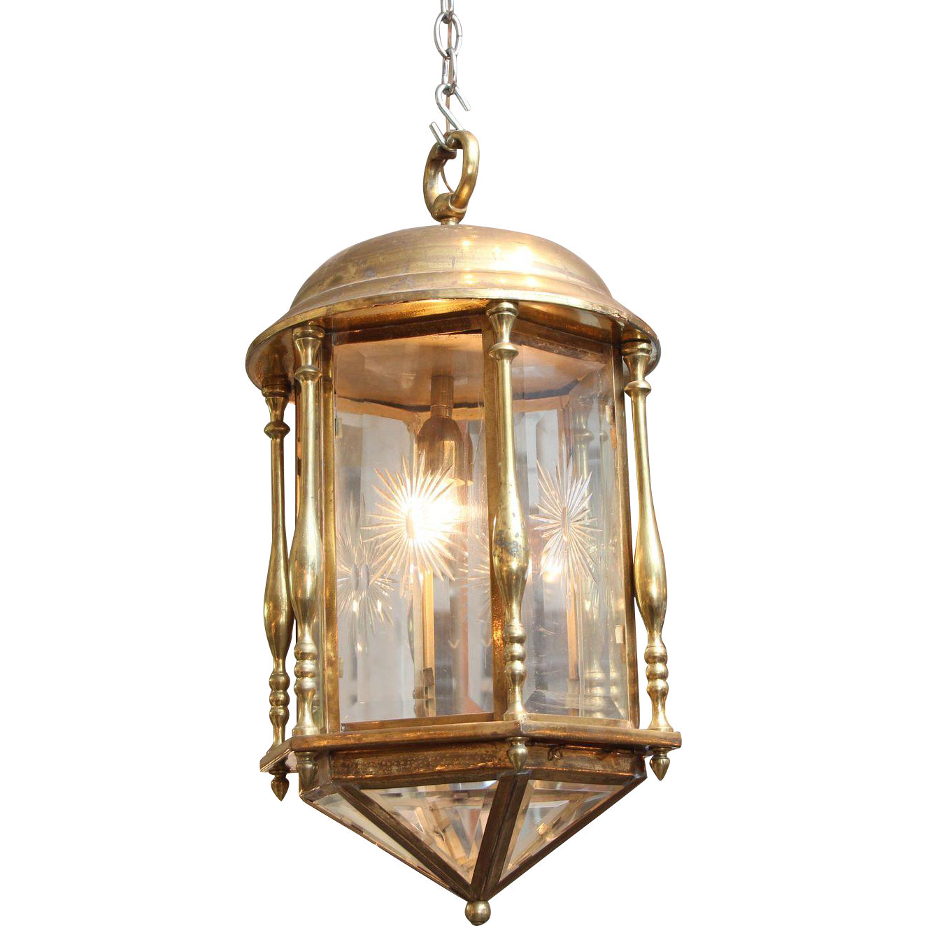 Brass etched lantern with beveled glass