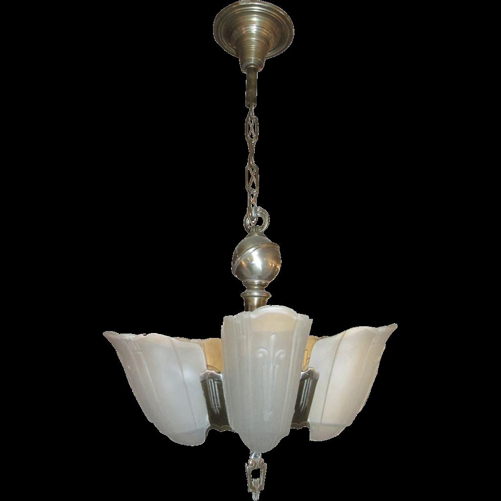 Art Deco frosted pendant light
