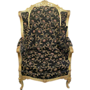 Vintage floral black accent chair
