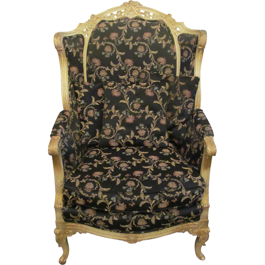 Vintage floral black accent chair from oldegoodthings on