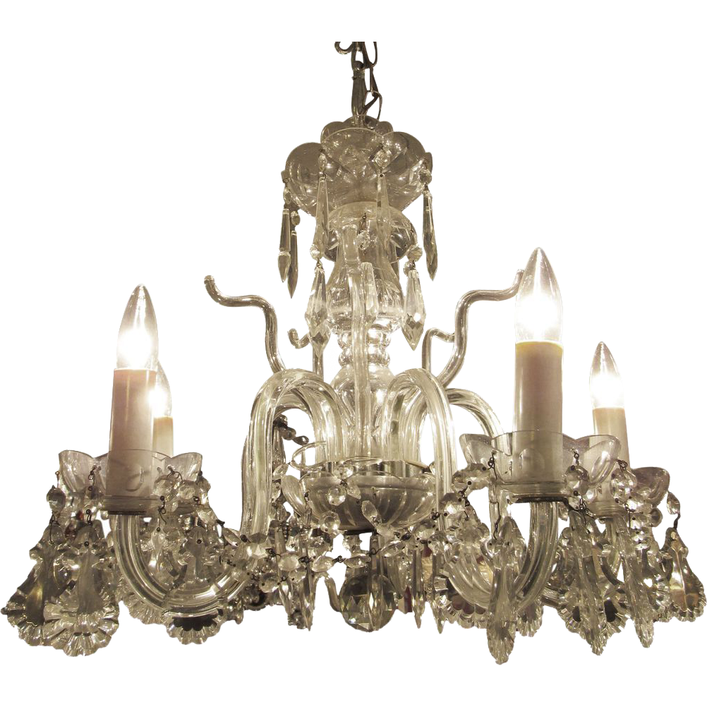 Glass five lite chandelier
