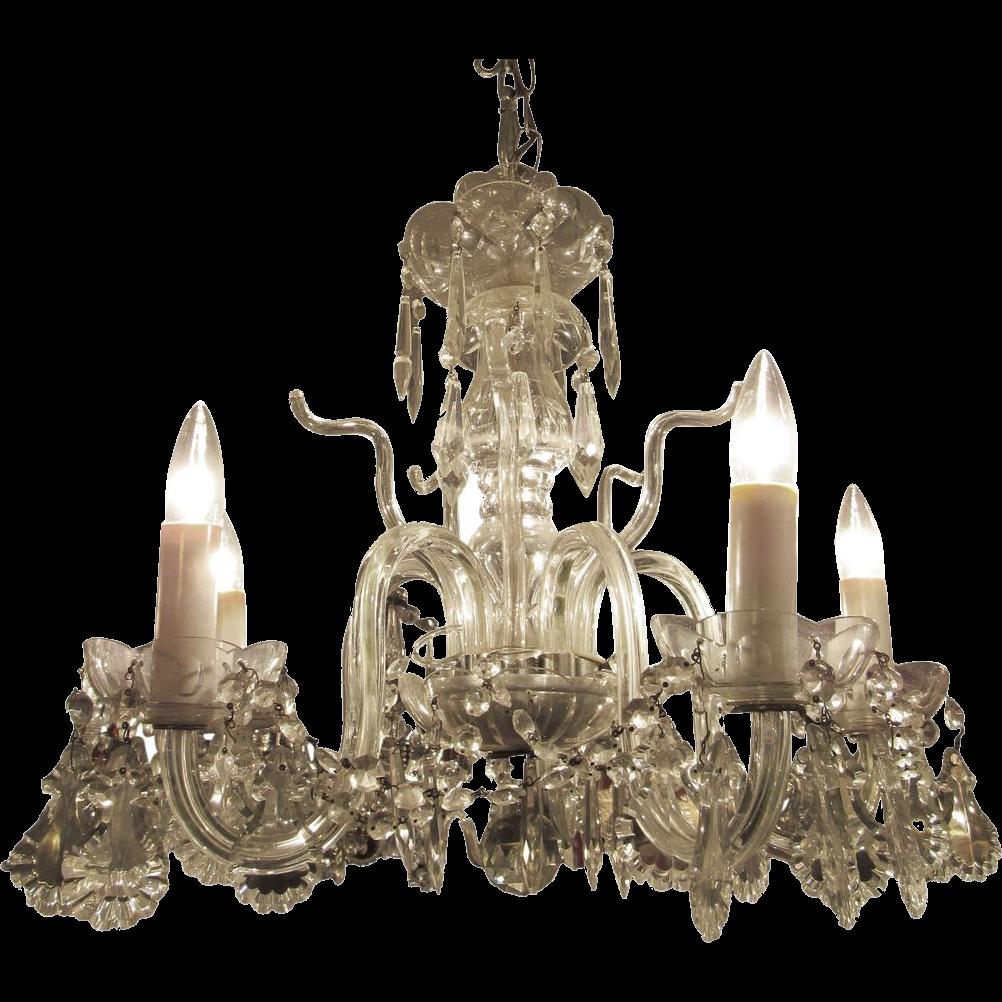 Glass five lite chandelier