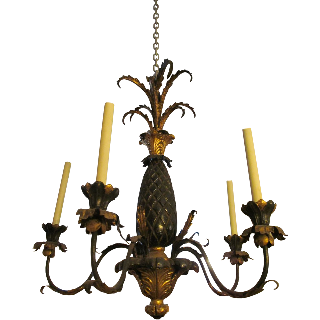 Black and gold five arm chandelier