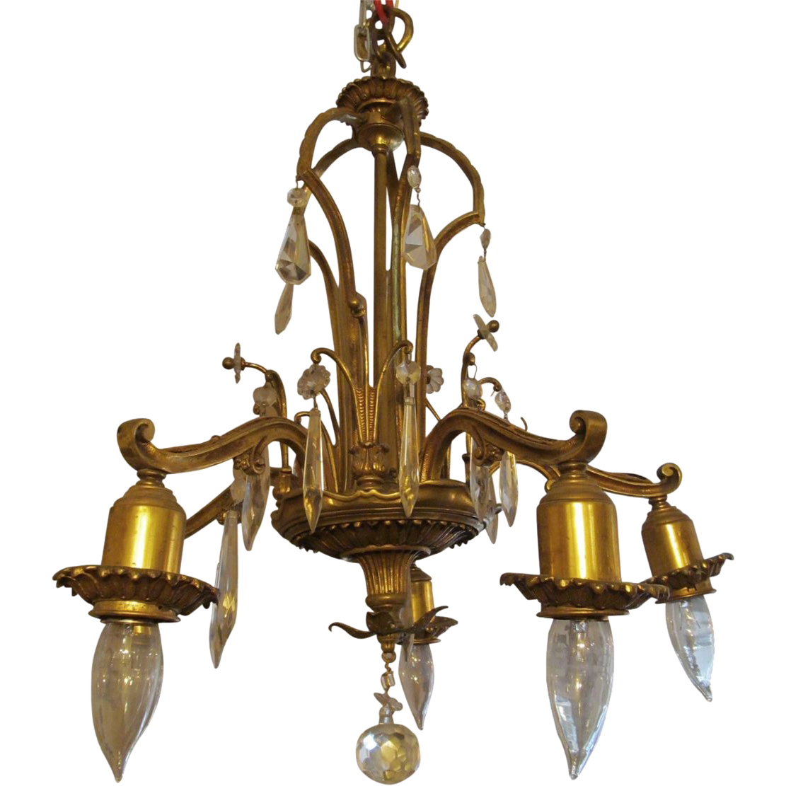 Bronze five arm down light chandelier