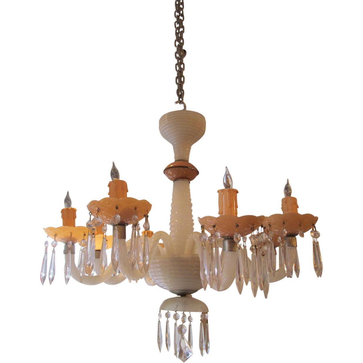 Pink & white milk glass chandelier
