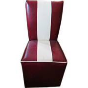 Red leather and white stripe dining chair