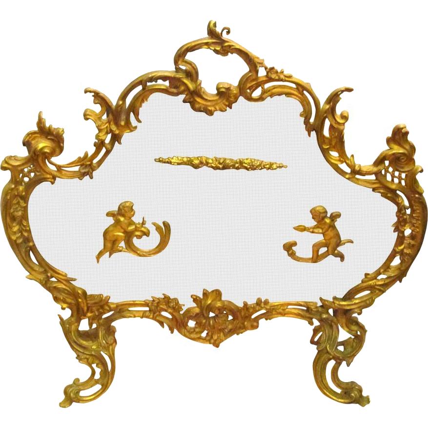 Gilded bronze cherub fireplace screen