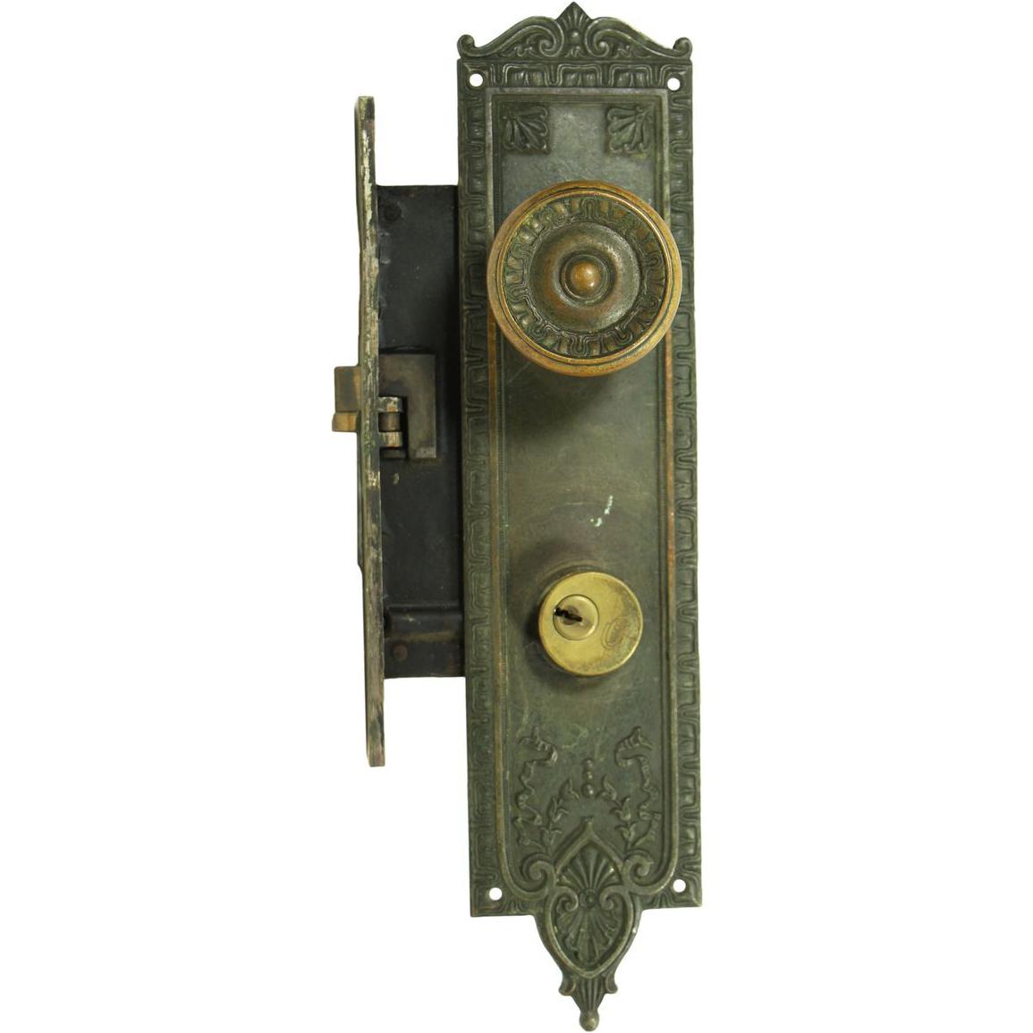 Neoclassical entry doorknob & lock set