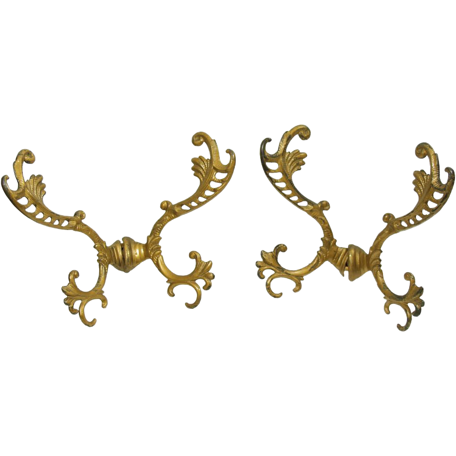 Pair of painted gold iron hall tree hooks