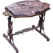 Iron Victorian style table with marble top