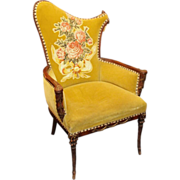 Greenish yellow velvet floral chair