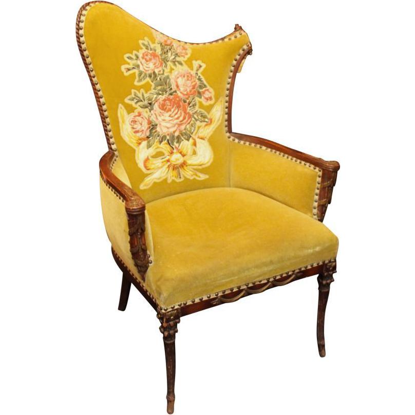 Greenish yellow velvet floral chair