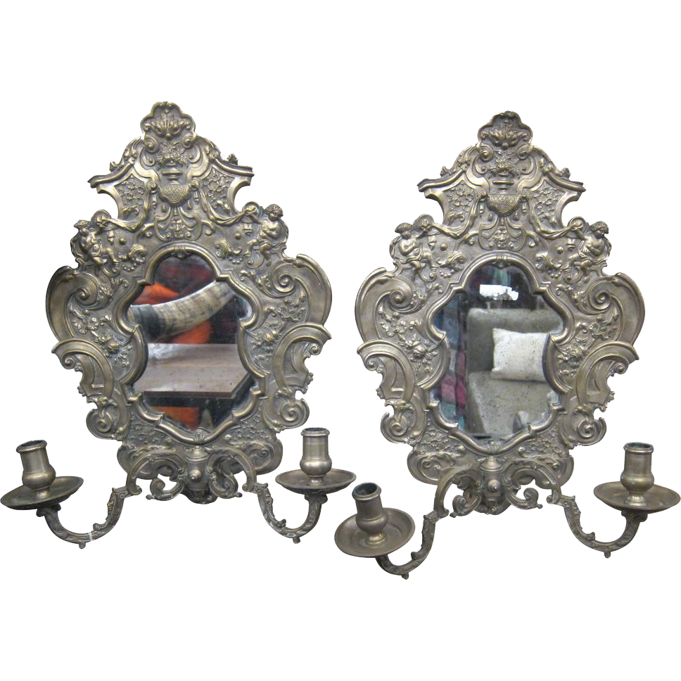 Ornate bronze & mirror candle sconces
