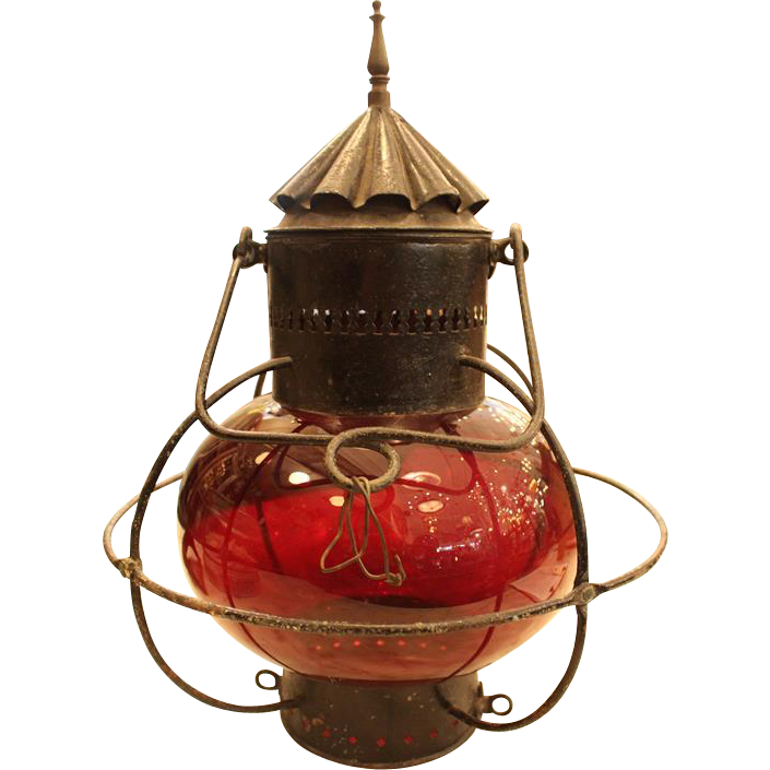 Antique bubbled red glass lantern