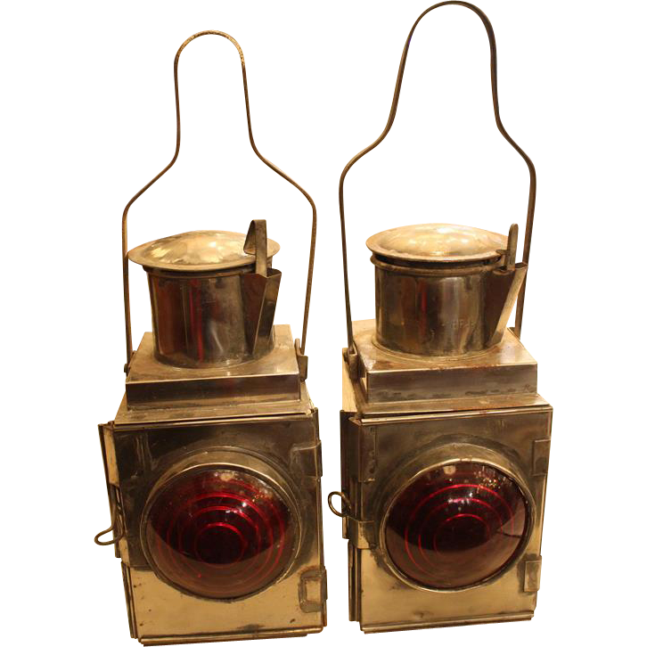 Pair of steel carriage/train lights