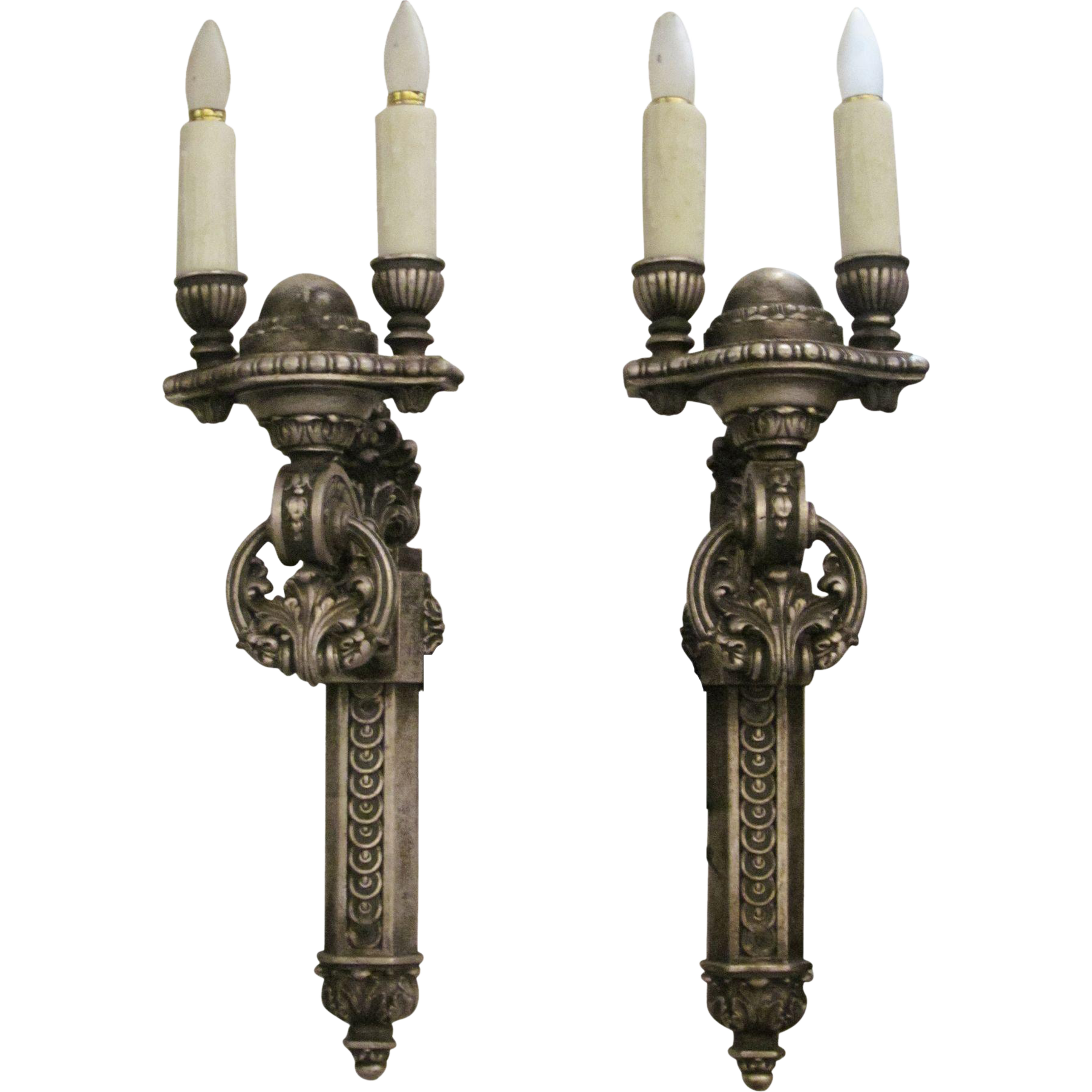 Wooden double arm ornate sconces