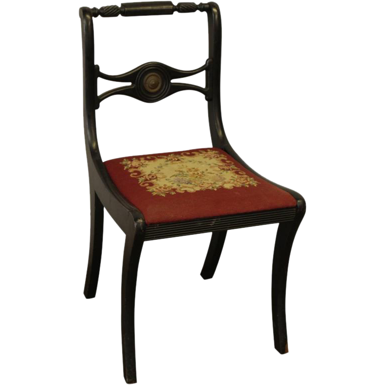 Vintage wooden black chair with floral seat