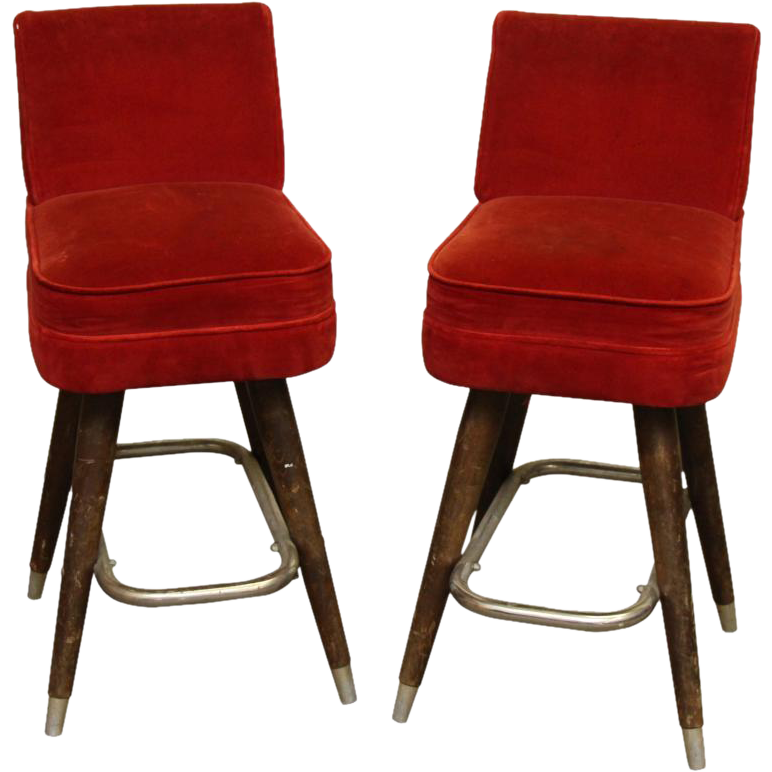 Pair of red velvet bar stools