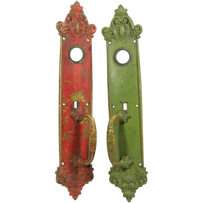 Pair of ornate painted red and green door pulls