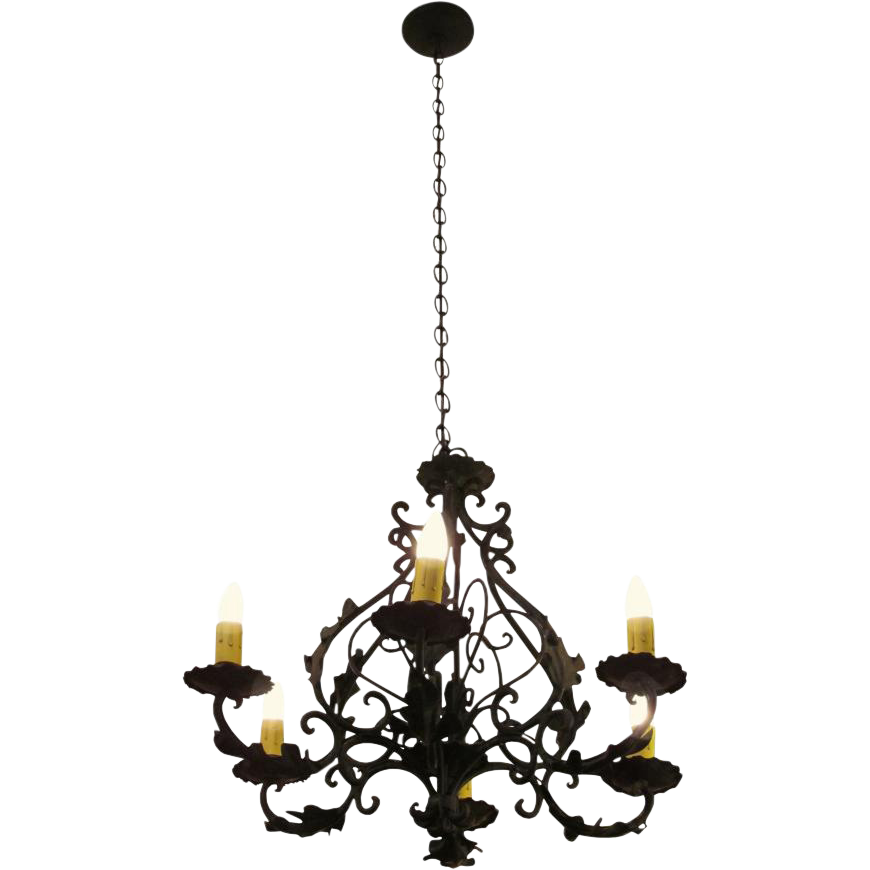 Iron six light chandelier