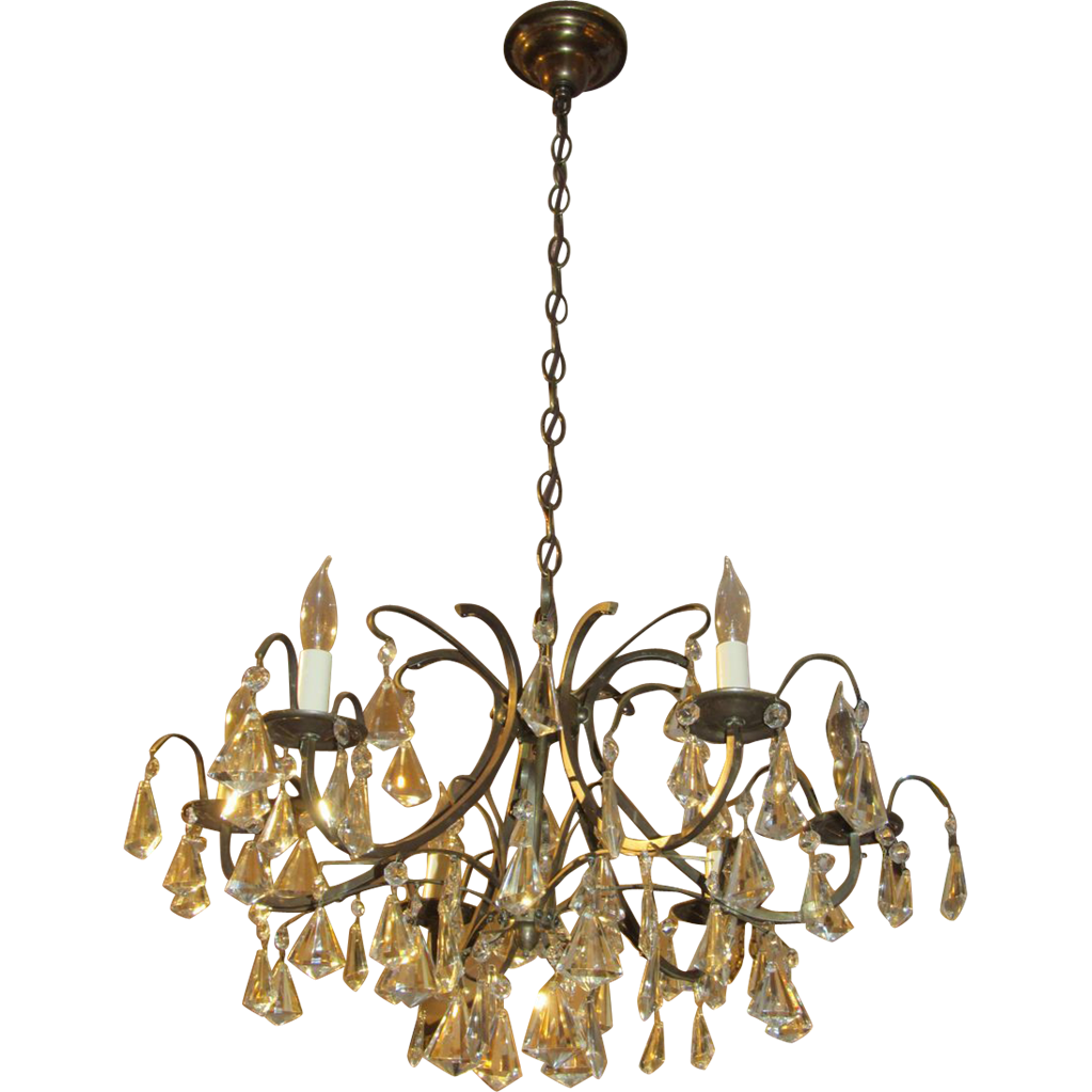 Mid century crystal and iron chandelier