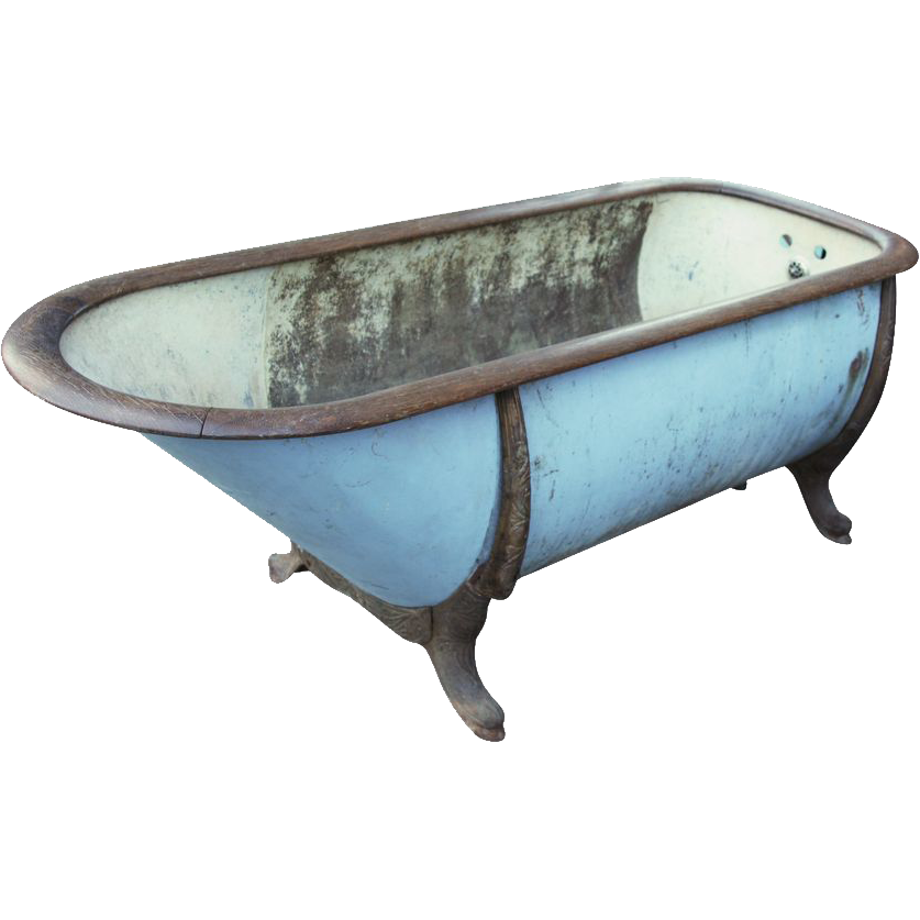 Vintage zinc & cast iron bathtub