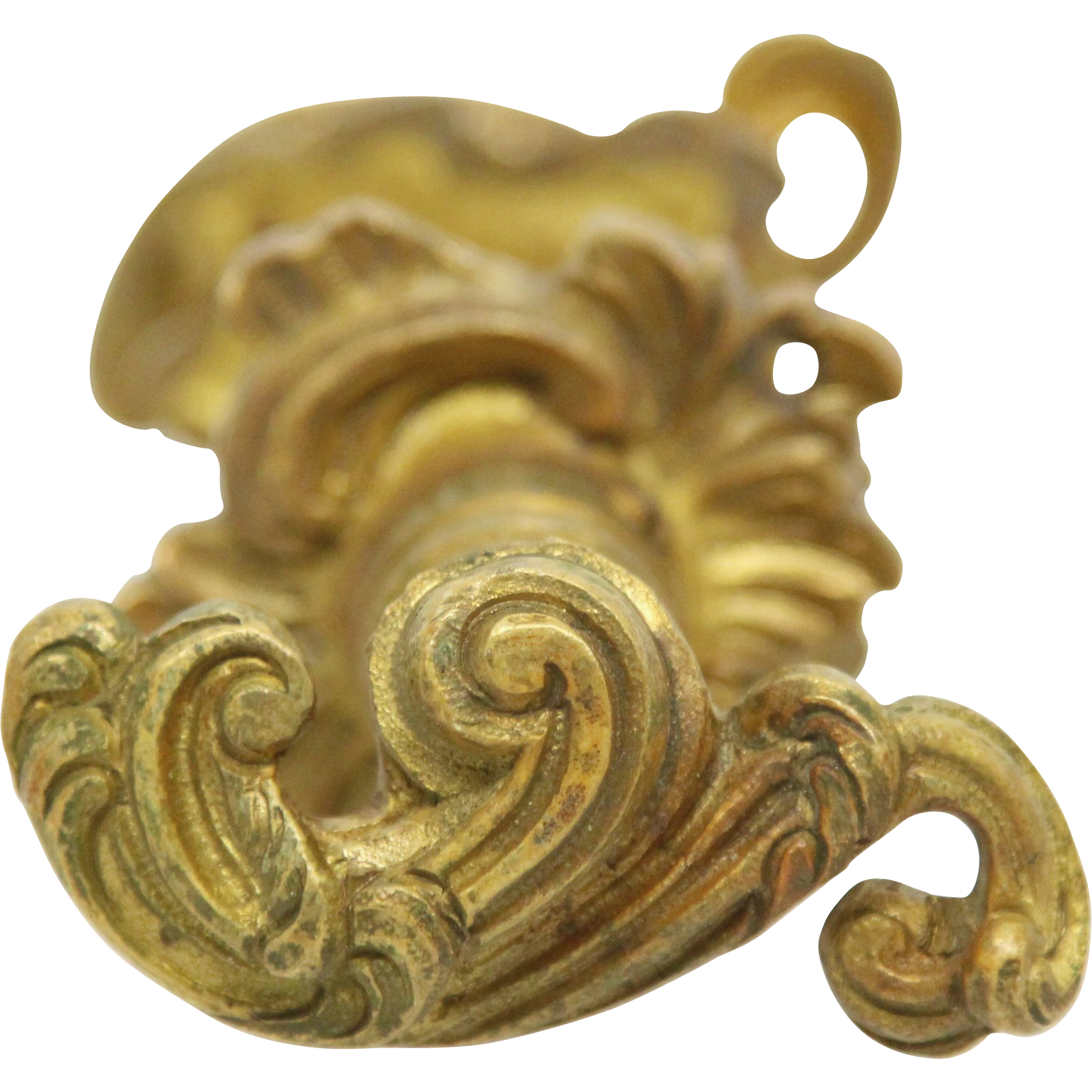 French gilded lever knob set with matching rosettes