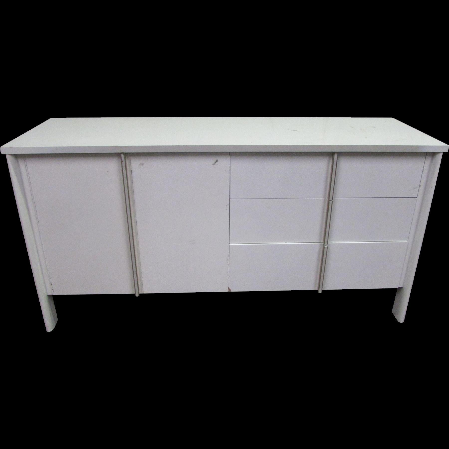 Mid Century white wooden storage cabinet