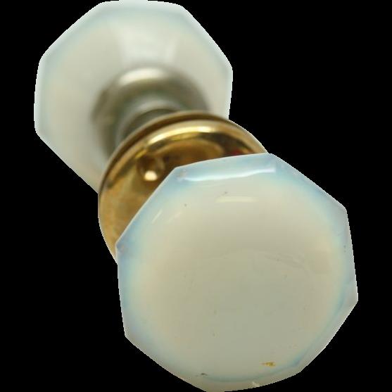 Opalescent glass door knobs