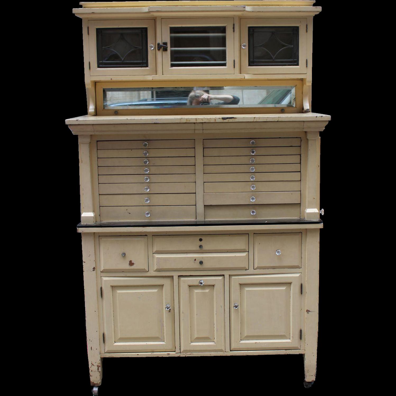 Vintage tan dental cabinet