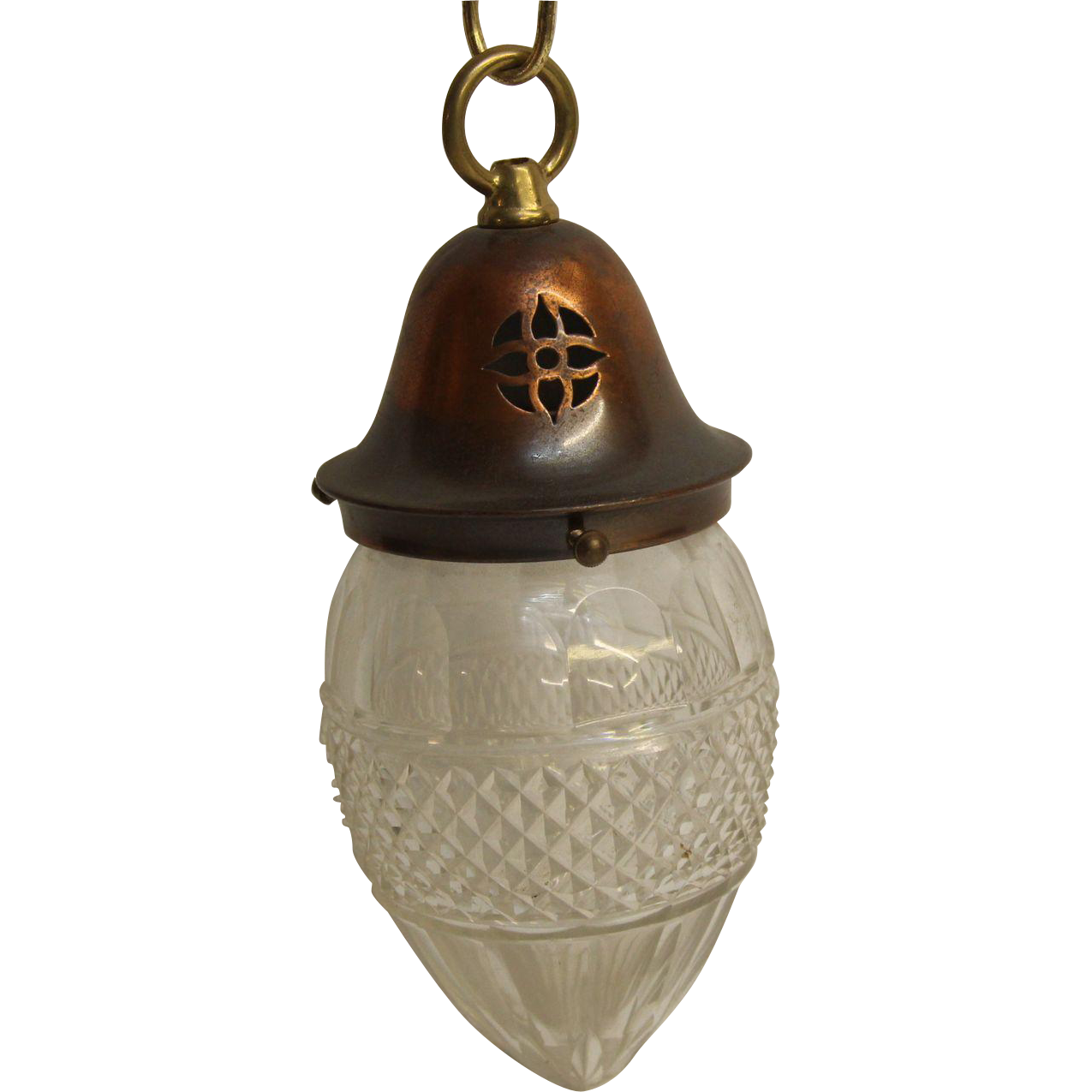 Cut glass egg shaped pendant light with copper fitter