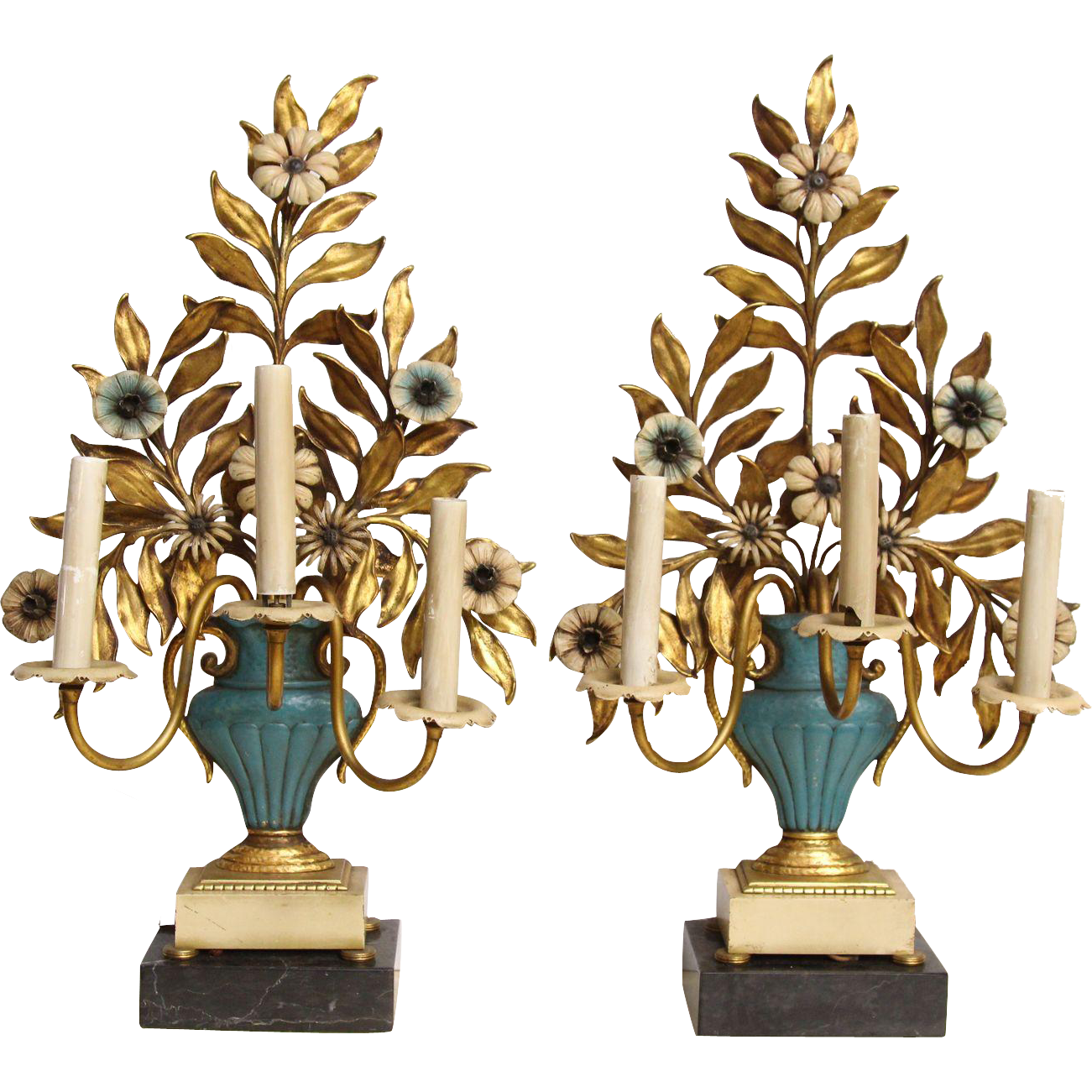 Pair of three arm floral lamps with marble base