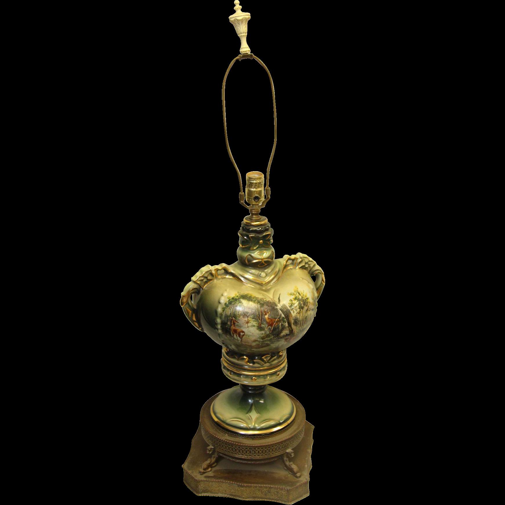 Ceramic ornate scenic deer lamp