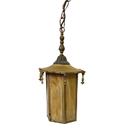 Vintage brass lantern with slag glass