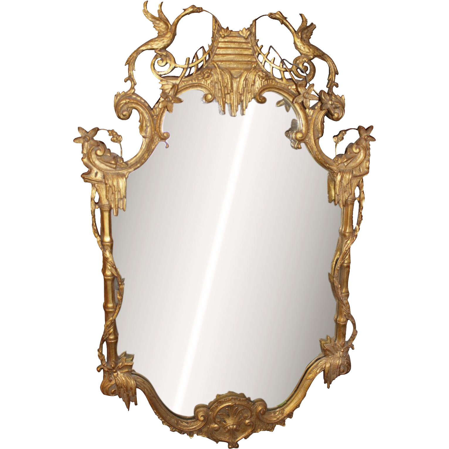 1940s Gold gilt mirror with Asian details