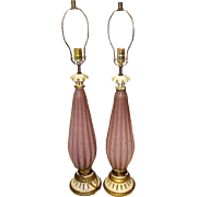 Pair of pink fluted Murano glass lamps