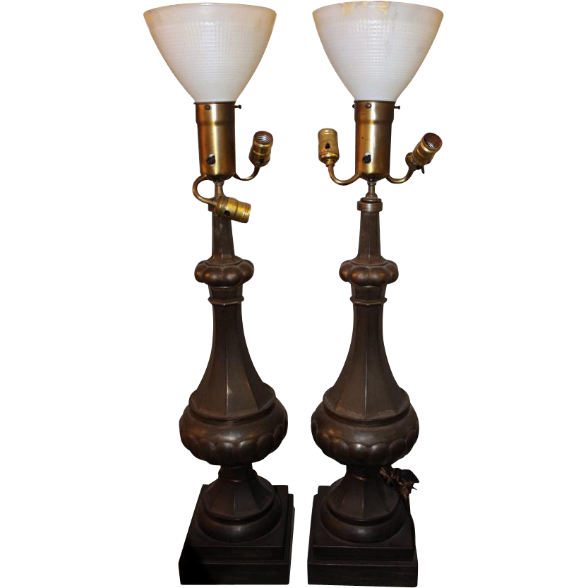 Metal fluted lamps with milk glass shades