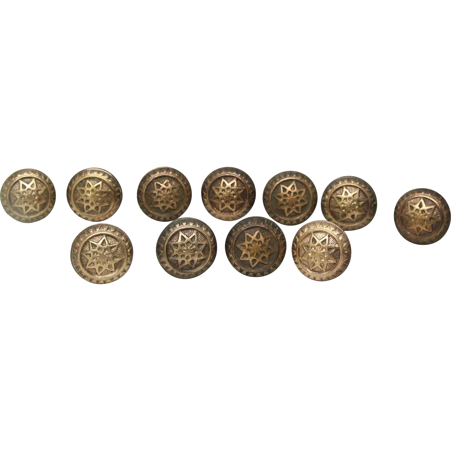 Set of bronze octagram knobs