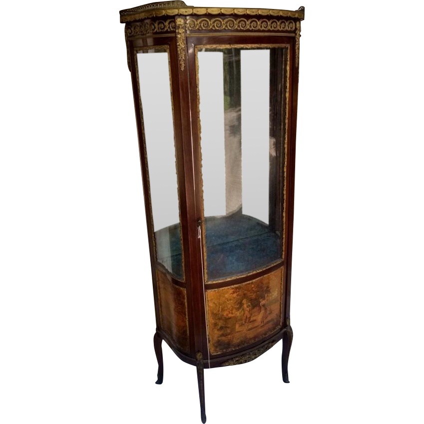 French wooden scenic cabinet with ornate hardware