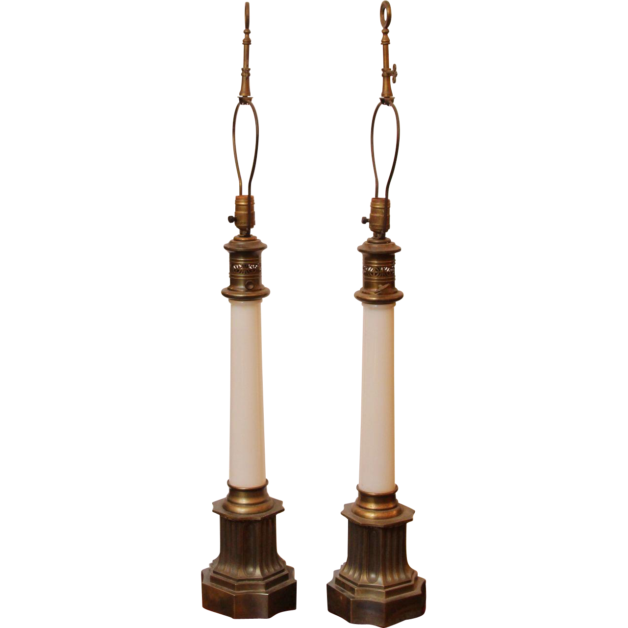 Pair of elegant opaline lamps