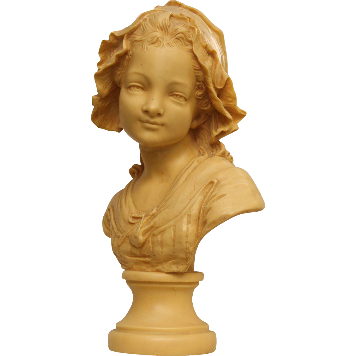 Composite young maiden bust sculpture