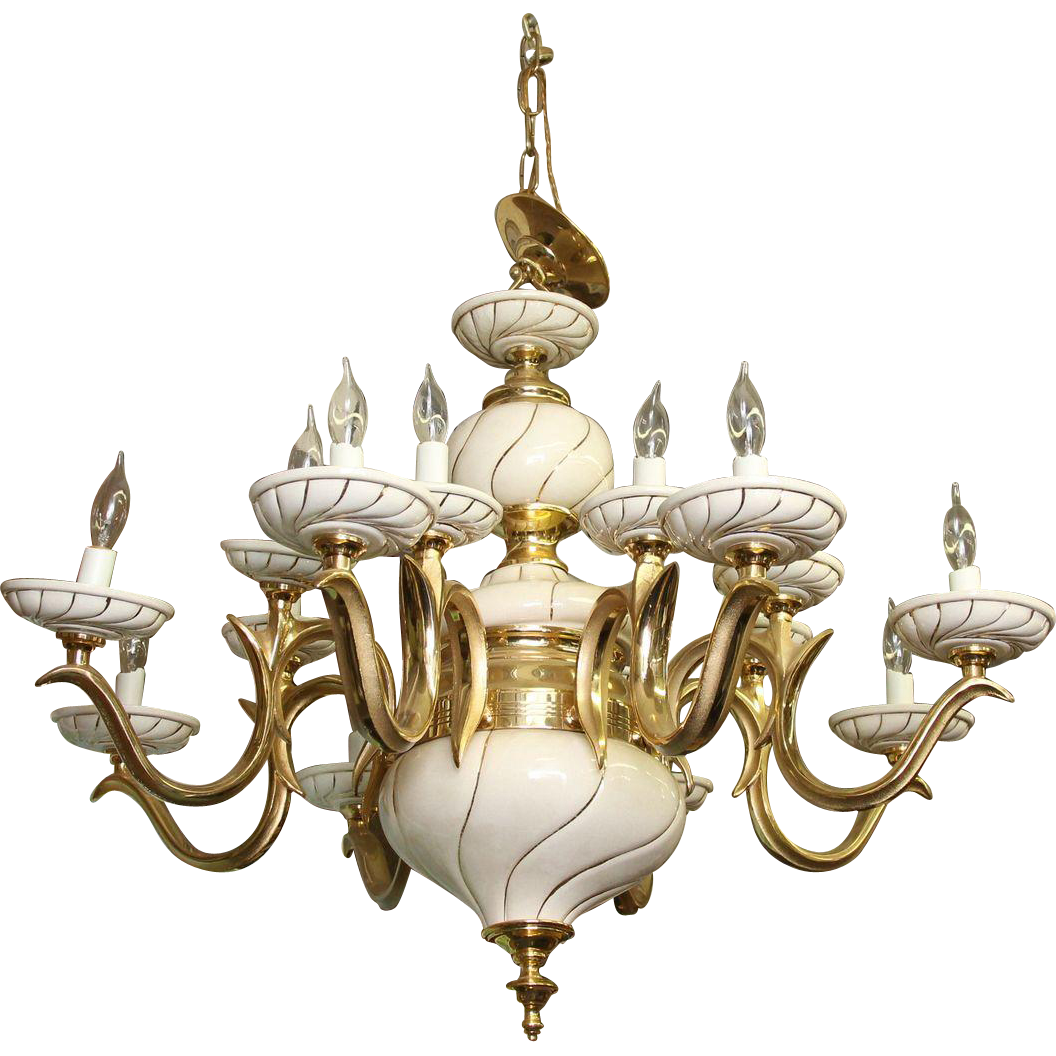 Italian white porcelain and brass chandelier